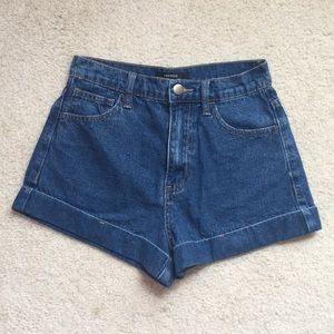 Dark washed high waisted shorts